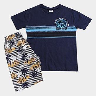 6b77a1d475 Conjunto Infantil Fakini Kids Ocean Curto Masculino