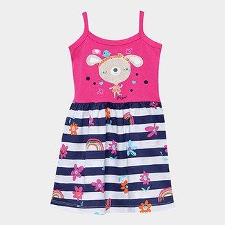 Vestido Infantil For Girl Floral Listrado Floral Alcinha 3d02ab33da7