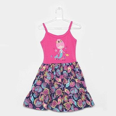 Vestido Infantil For Girl Curto Evasê Estampa Sereia Conchas