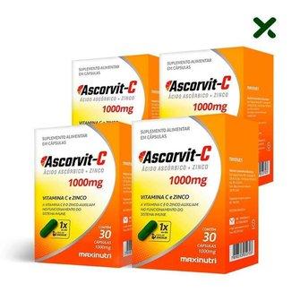 4x Ascorvit-C 1000mg (4x 30 cápsulas) - MaxiNutri