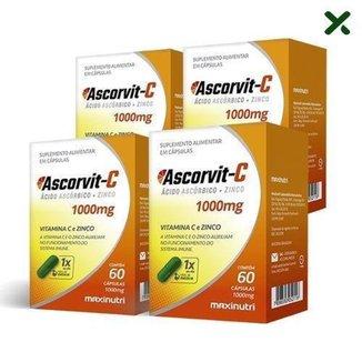 4x Ascorvit-C 1000mg (4x 60 cápsulas) - MaxiNutri