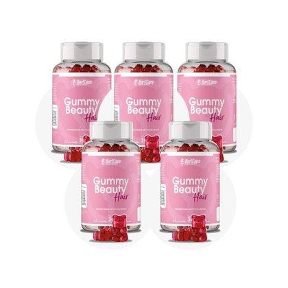 5 Frascos Gummy Hair Beauty Bari Caps para Cabelo Pele e Unha