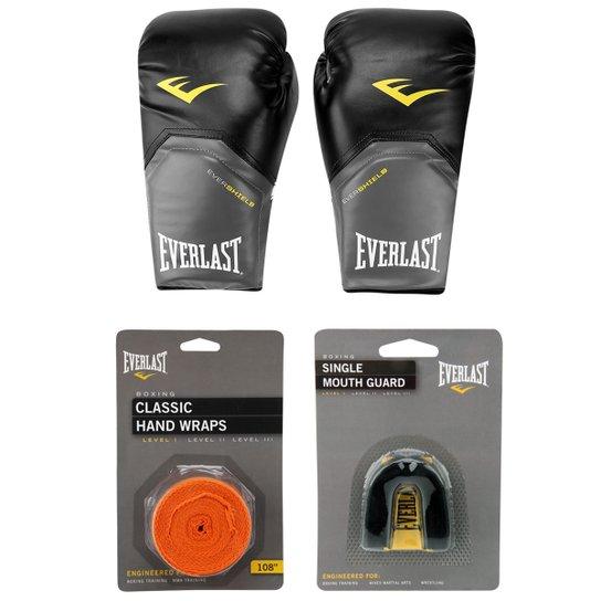 Kit Everlast Bandagem Elástica 3 m + Protetor Bucal + Luva de Boxe Muay Thai 50bee473a592f