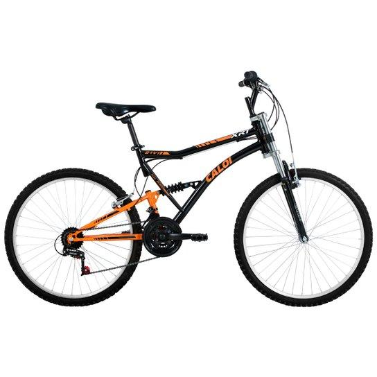 f6a56af6a Bicicleta Caloi XRT - Aro 26 - 21 Marchas - Full Suspension - Preto+Laranja
