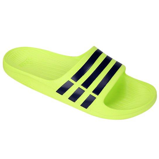 Chinelo Slide Adidas Duramo - Verde Limão e Preto - Compre Agora ... 3ee64a7fb02b6