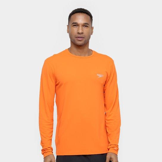 Camiseta Speedo Com Proteção UV Manga Longa Masculina - Laranja e ... c2817e0706a