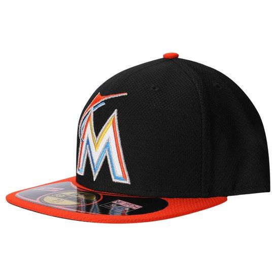 Boné New Era 5950 MLB BP Diamond Miami Marlins Team Color - Preto+Laranja f3221f15eff