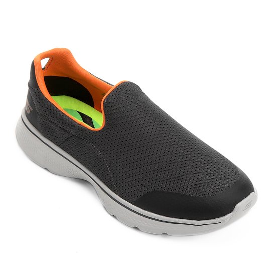 Tênis Skechers GOwalk 4 - Incredible Masculino - Cinza e Laranja ... 5c499d12714bb