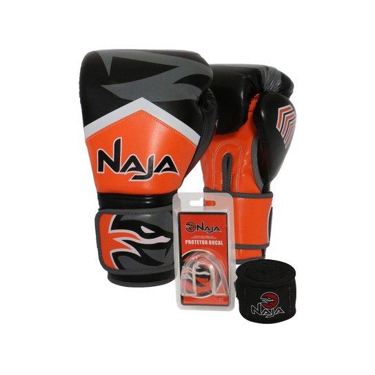 493e37a1e Kit Boxe Muay Thai Naja - Par Luva New Extreme+ Bandagem+Protetor Bucal -  14oz