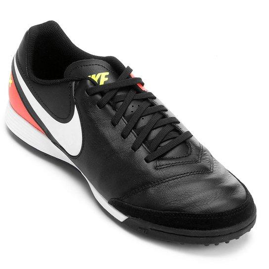 Chuteira Society Nike Tiempo Genio 2 Leather TF - Preto e Laranja ... 951fae5b607a2