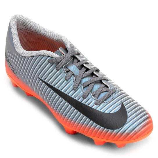 96410796a3ae0 Chuteira Campo Nike Mercurial Vortex 3 CR7 FG - Cinza+Laranja