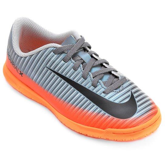 Chuteira Futsal Infantil Nike Mercurial X Vortex 3 CR7 IC - Cinza+Laranja 9bead92f27ea3