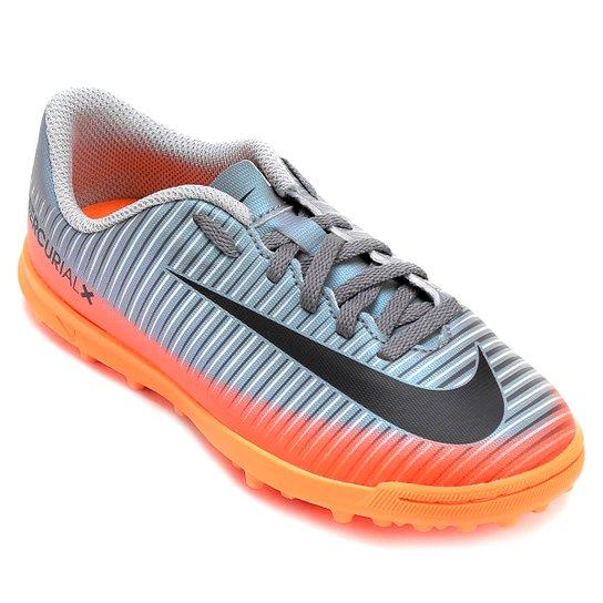 9741ea40de Chuteira Society Infantil Nike Mercurial X Vortex 3 CR7 TF - Cinza+Laranja