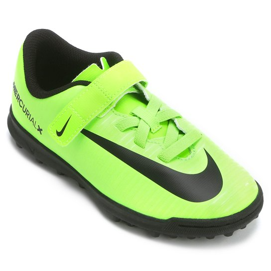 Chuteira Society Infantil Nike Mercurial Vortex 3 TF - Verde Limão+Preto 25263eb97afac