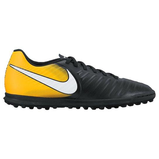 8279f227be Chuteira Society Nike Tiempo Rio 4 TF - Preto+Laranja
