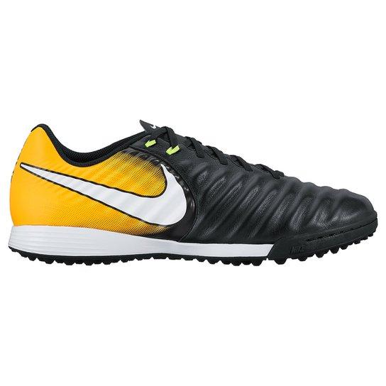 3fcbece4ba7af Chuteira Society Nike Tiempo Ligera 4 TF - Preto e Laranja | Netshoes
