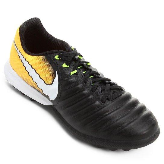 b8f14aa03ebb2 Chuteira Society Nike Tiempo Finale TF - Preto e Laranja - Compre ...