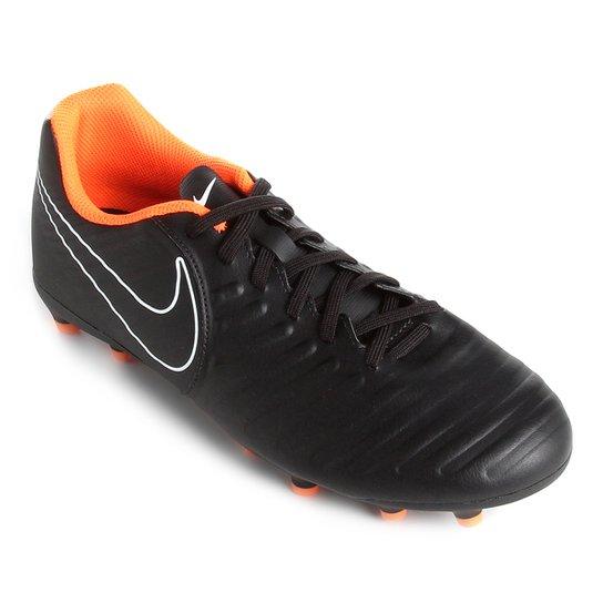 e30ff8d36728b Chuteira Campo Nike Tiempo Legend 7 Club FG - Preto e Laranja ...