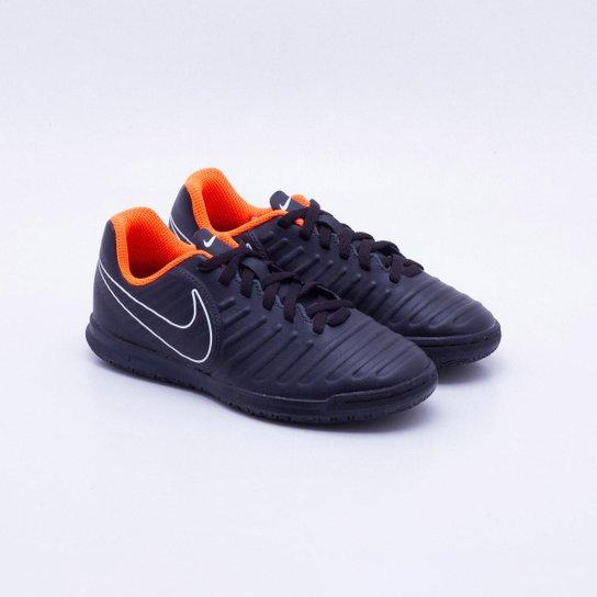 Chuteira Futsal Infantil Nike Tiempo Legend 7 Club IC - Preto+Laranja d73491f2c3706