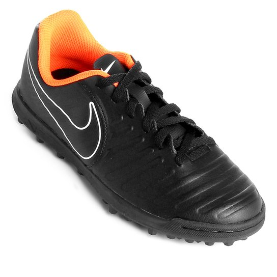 Chuteira Society Infantil Nike Tiempo Legend 7 Club TF - Preto+Laranja c92859fb9537a