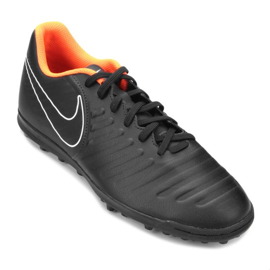 Chuteira Society Nike Tiempo Legend 7 Club TF - Preto e Laranja ... 99011f4f0c4b4