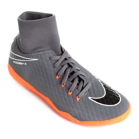 17499c2ddd8b4 Chuteira Futsal Nike Hypervenom Phantom 3 Academy DF IC - Cinza+Laranja