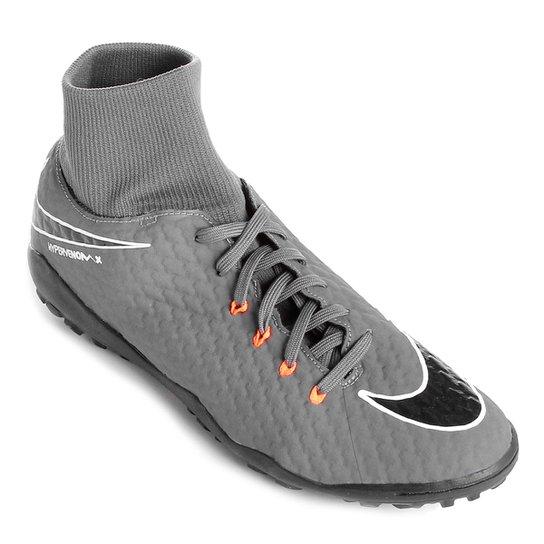 751b415193ca1 Chuteira Society Nike Hypervenom Phantom 3 Academy DF TF - Cinza+Laranja