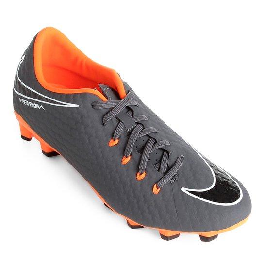 Chuteira Campo Nike Phantom 3 Academy FG - Cinza e Laranja - Compre ... 30e2352943b95