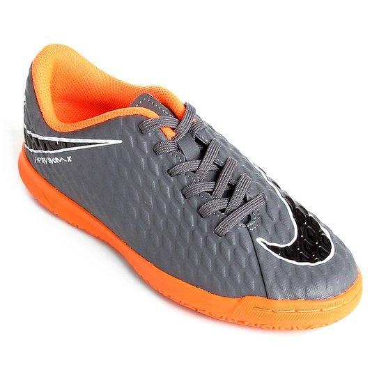 b7e4c2fef2 Chuteira Futsal Infantil Nike Hypervenom Phantom 3 Club IC - Cinza+Laranja