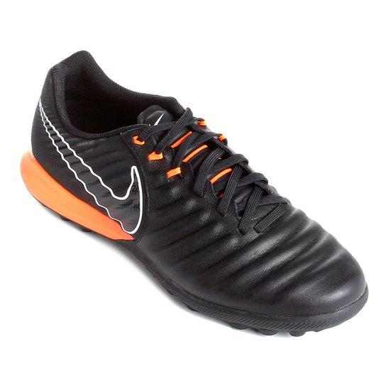 Chuteira Society Nike Tiempo Lunar Legend 7 Pro TF - Preto e Laranja ... fa63e71bed87e