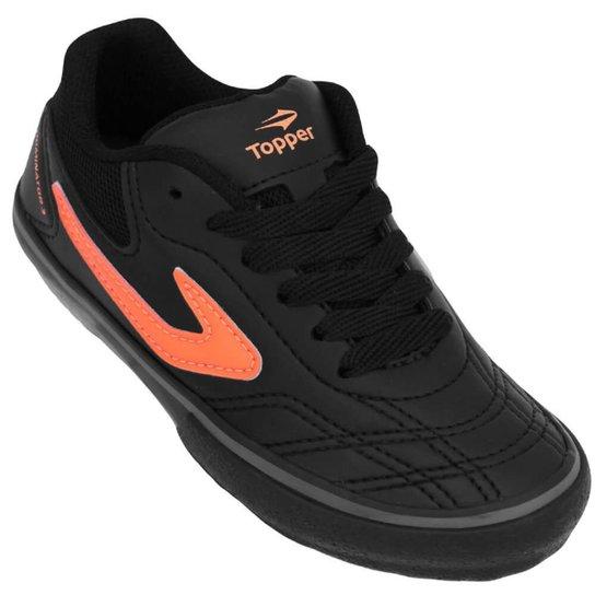 Tênis Topper Futsal Dominator III Junior - Preto e Laranja - Compre ... fa9f416237f3d