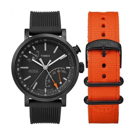 752dd1b0afb6 Relógio Timex Metropolitan TWG012600PL I 42mm Silicone - Preto+Laranja