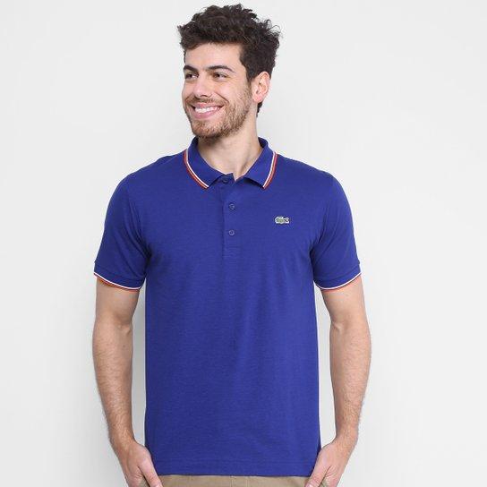 Camisa Polo Lacoste Básica - Azul e Laranja - Compre Agora   Netshoes 7ec941e1e2