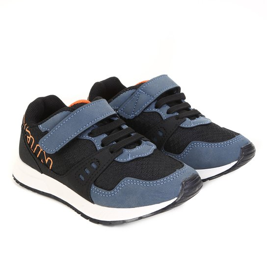 46e04734cf Tênis Infantil Klin Baby Walk Masculino - Preto e Azul | Netshoes