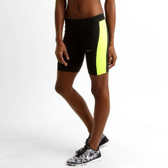 f47bb7a04 Short Nike Dri-Fit Pace 8 pol. Feminino - Preto+Verde Limão
