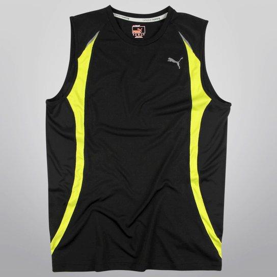 825a0da33f1d4 Camiseta Regata Puma Sless - Preto+Verde Limão