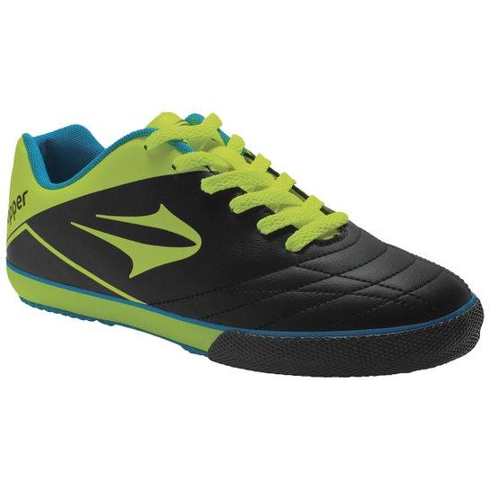 Chuteira Futsal Topper Frontier 7 - Preto+Verde Limão 085e19c5f7711