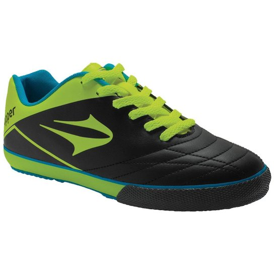 Chuteira Topper Frontier 7 Futsal Infantil - Preto e Verde Limão ... 77344067dc086