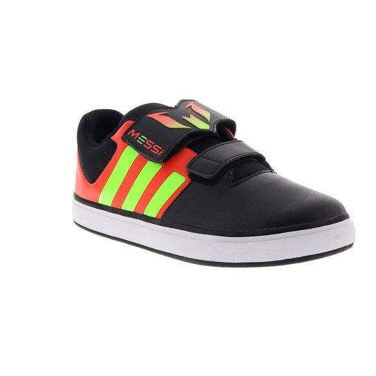 a1d12e9184c Tênis Infantil Adidas Messi Cf K Velcro - Preto E Verde Limão - 26 - Preto