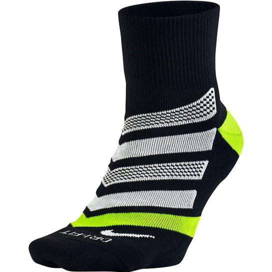 476250782 Meia Nike Dri-Fit Dynamic Arch Quarter Cano Médio - Preto+Verde Limão