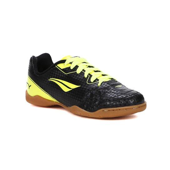 d90cb7de3f5 Chuteira Futsal Infantil Penalty - Preto+Verde Limão