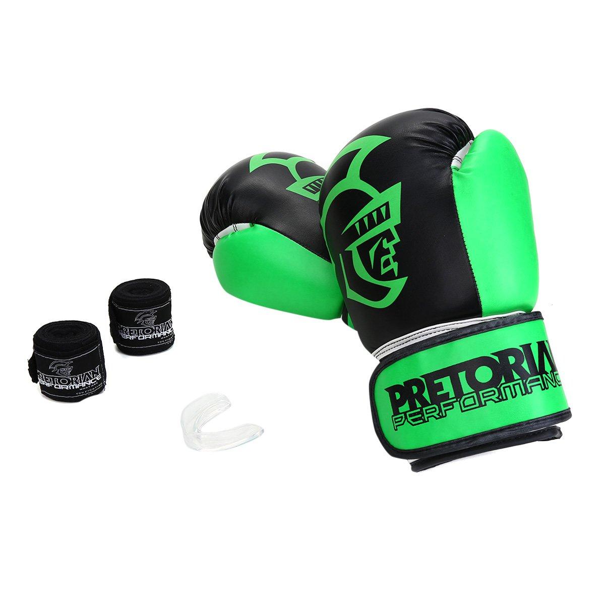 Kit Luva de Boxe/Muay Thai Pretorian Performance 12 OZ + Bandagem + Protetor Bucal