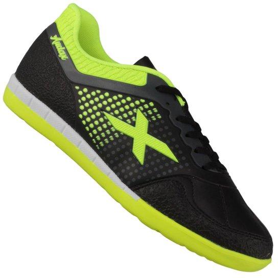 14390d24f6177 Chuteira Oxn Audax Indoor - Preto e Verde Limão   Netshoes