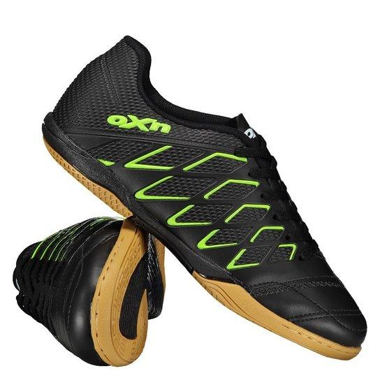 85cee4e0bdfe9 Chuteira Oxn Mission Futsal - Preto+Verde Limão