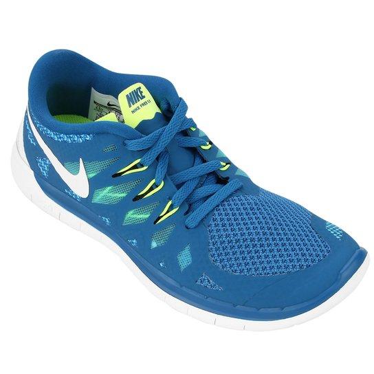e03b9073597 Tênis Nike Free 5.0 Juvenil - Azul Royal+Verde Limão