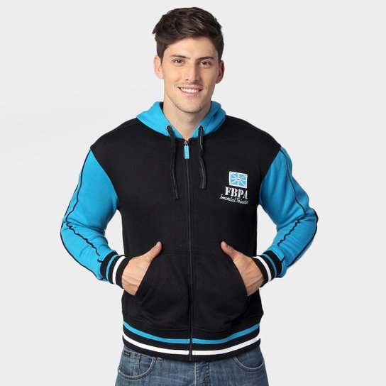 Jaqueta Grêmio c  Capuz - Preto e Azul Turquesa - Compre Agora ... 92700d5a468c1