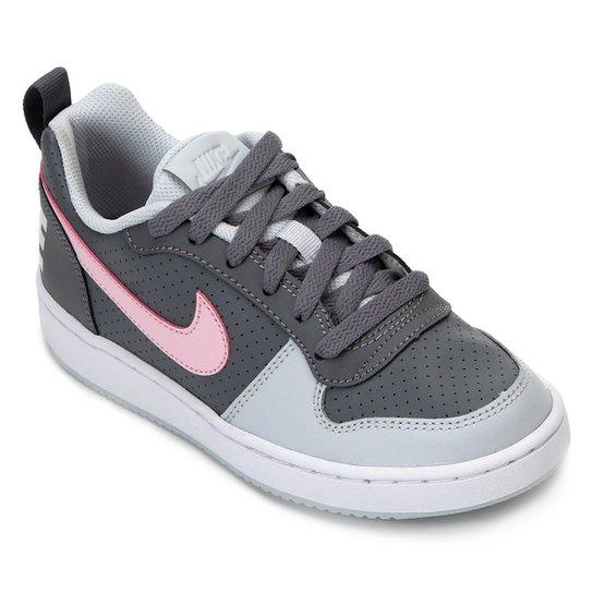 822f4192071 Tênis Infantil Nike Court Borough Low Feminino - Cinza e Rosa ...
