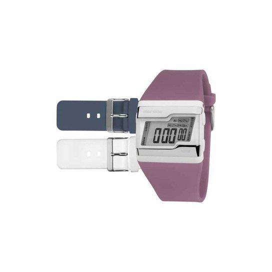 Relógio Mormaii Digital Acquarela Colors Troca Pulseira - Branco+Roxo bd645c512c