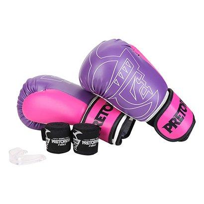 Kit Luva de Boxe/Muay Thai First Pretorian 10 Oz + Bandagem Elástica + Protetor...