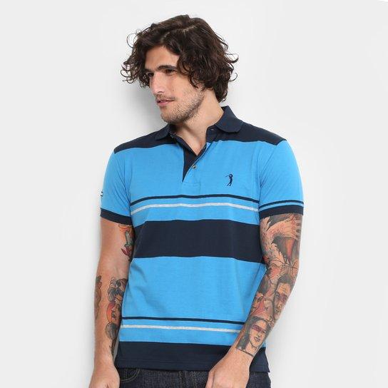 Camisa Polo Aleatory Malha Fio Tinto Masculina - Azul e Marinho ... 6f68811a81774